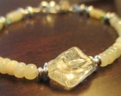 Ethiopian Honey Opals and Genuine Citrine Bracelet in Sterling Silver - Peridot Accents