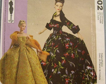 SALE McCalls 3702  Gene Doll Clothes Sewing Pattern Uncut / Evening Gown / Ball Gown / Tyler Wentworth / Strapless / Ashton Drake / Clothing
