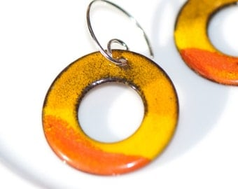 Circle Washer Enamel Earrings, Orange Yellow, Bright Earrings, Handmade Copper Enamel, Sterling Silver Ear Wires, Geometric Earrings