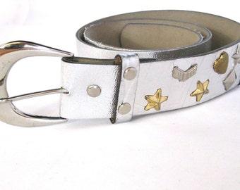 Vintage Silver Metallic Belt