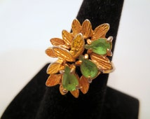 Vintage Cocktail Ring, Rhinestone Green Peridot 18KT HGE Chunky Ring Size 8.5 Vintage jewelry Cocktail Jewellery