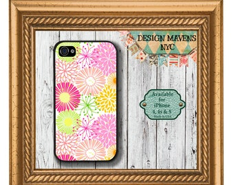 Cheerful Floral iPhone Case, Spring iPhone Case, Preppy Floral iPhone, iPhone 5, 5s, 5c, 4, 4s, iPhone 6, 6s, 6 Plus, SE, iPhone 7, 7 Plus