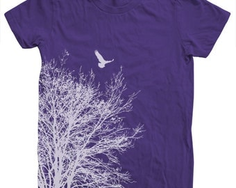 Women T shirt Tree Hand Screen Print American Apparel Short Sleeve
