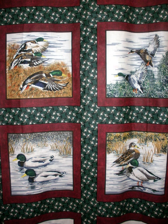 Ducks Fabric Quilt Blocks or Pillow Panel by MrsMurphysMercantile
