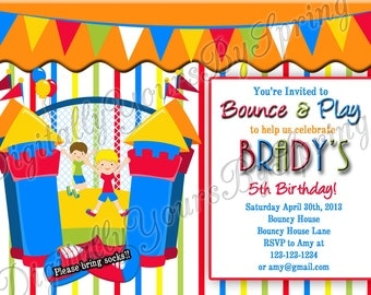 Printable Boys Bouncy House Birthday Party Invitation - You Print DIGITAL FILE