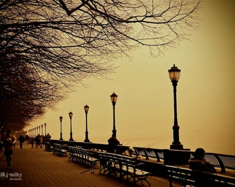 "Fine Art Photo - Title: ""Battery Park"" - billi j miller photography - NYC, park, lamp, water, view, calm"