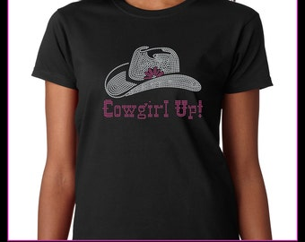 Cowgirl Up with Cowboy hat Rhinestone t-shirt