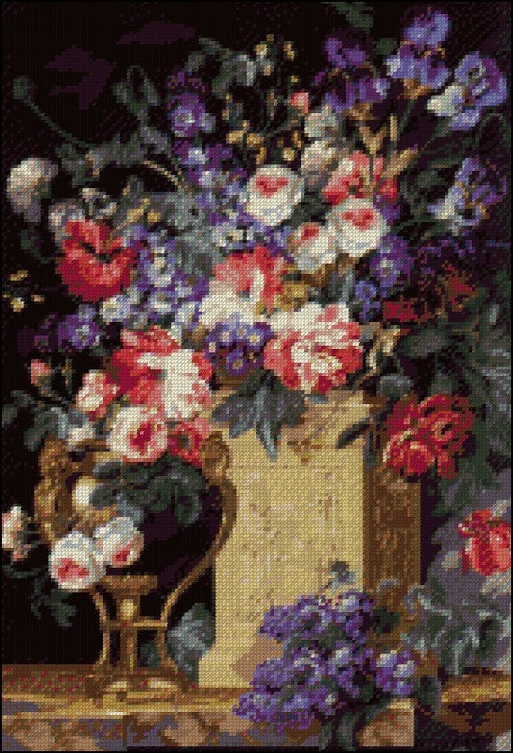 corbeille et vase de fleurs counted cross stitch and needle. Black Bedroom Furniture Sets. Home Design Ideas