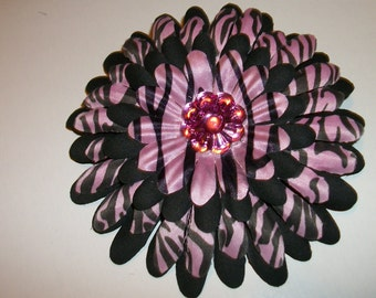 Pink and Black Zebra Flower Hair Clip Handmade READY to Ship