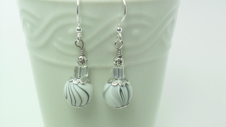 white beaded earrings wire wrapped dangle earrings handmade