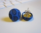 Fabric Covered Cobalt and Navy Leaf Earrings