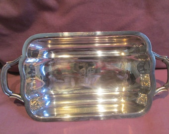 Silver plated candy dish with monogram