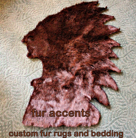 Dark Brown Bear Skin Faux Fur Indian Head Accent By FurAccents