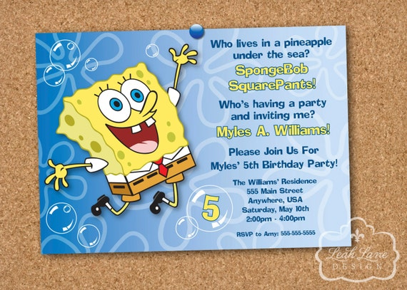 spongebob squarepants birthday party printable invitation, Invitation templates