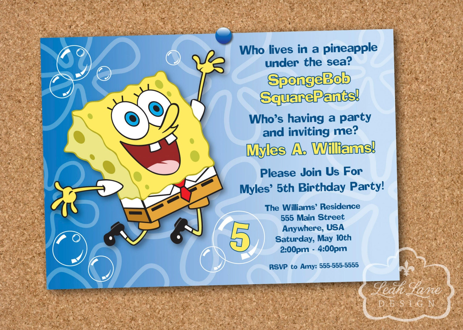 SpongeBob SquarePants Birthday Party Printable Invitation – Spongebob Party Invitations