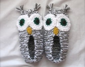 Owl Slippers Grey.White Hand Knit.Crocheted Family Ladies Mens Children's Custom Eye Color - robinandrenee