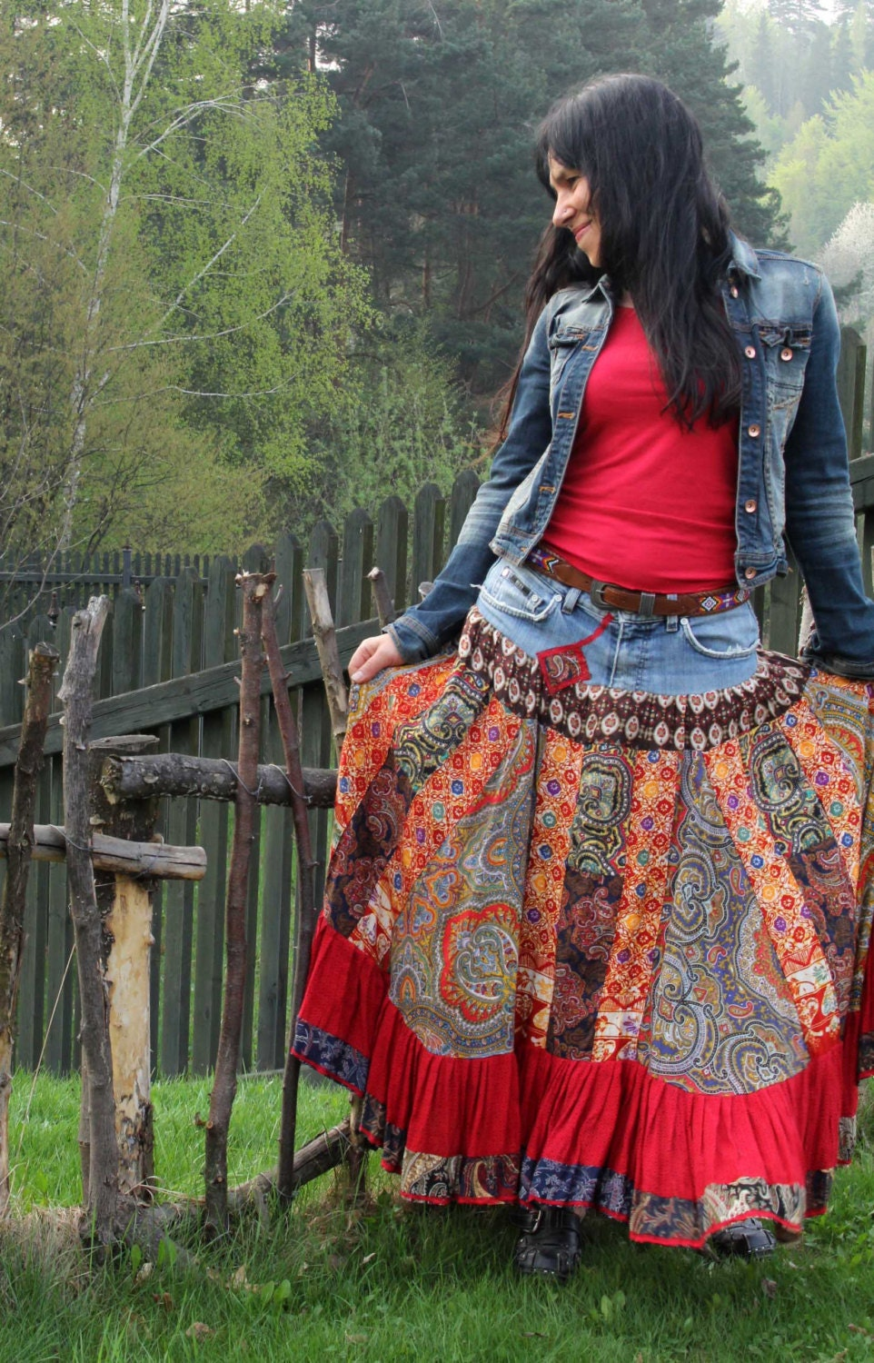 hippie boho folk skirt recycled and patchwork