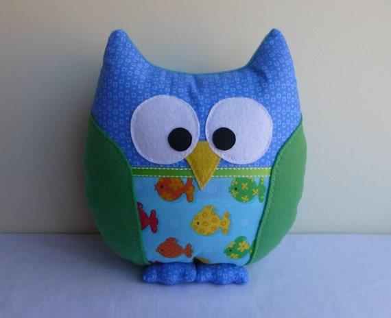 Owl pillow blue green aqua with fish pattern for Owl fish clothing
