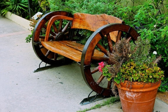 Items Similar To Wagon Wheel Bench On Etsy