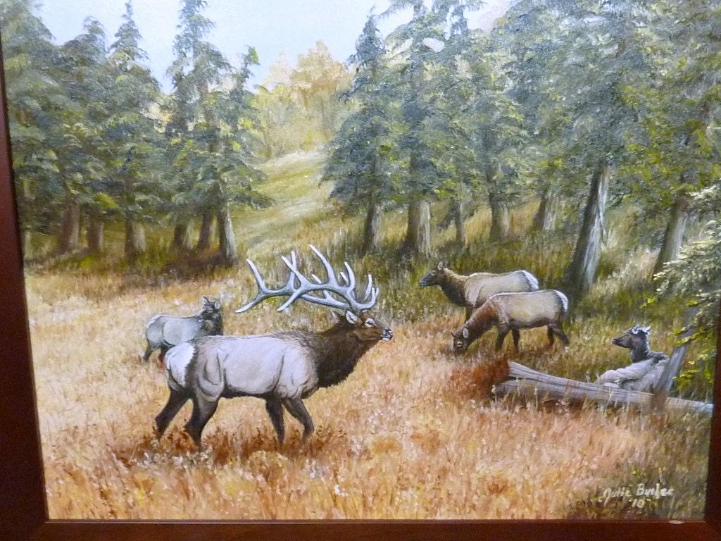 Original Oil Painting Elk Painting Wildlife Art 16x20