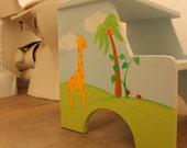 Personalized Custom Step Stool - The lovely jungle animals, Kids Personalized Step Stool, step stool for children