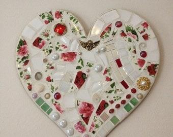 Mosaic heart wall art