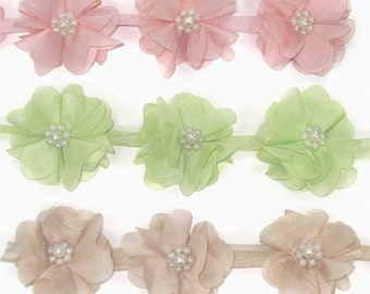 Chiffon Flower with Pearl for Women baby girls Hair Clip, Hair Accessories Clothing Annielov Motif - 1 yard (90cm)