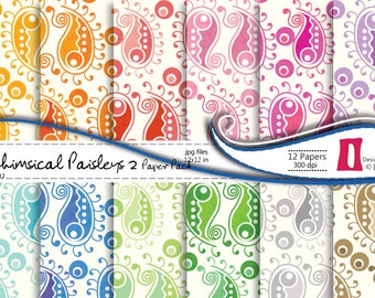 Paisley Digital Paper Pack , Paisley Patterned Digital Scrapbooking Paper Pack 2 - Commercial Use ,Instant Download