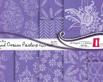 Paisley Digital Paper, Purple Blue Hand Drawn Paisleys  - 10 papers - 12x12 in - 300dpi Commercial Use ,Instant Download