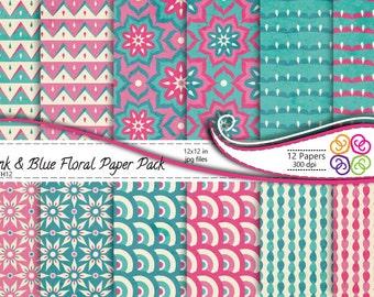 Digital Paper Pink and Blue Floral Paper Pack, Floral Digital Paper - Commercial Use, Instant Download