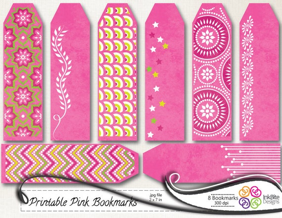 Pink Printable Bookmarks Long Gift Tags Labels - 300dpi, jpg, Instant ...