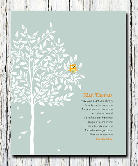 Owl in tree baptismal gift religious wall poster art 8 x 10