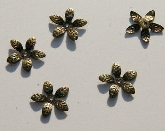 25 PCs bead caps / color: bronze / 15 mm PK006