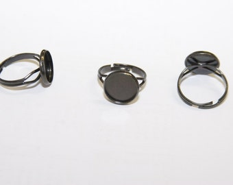 5 Pcs. Bezel Ring / color black /  settings blanks 14mm/ fits 12mm cabochons R038