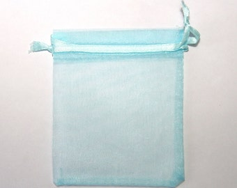 10 PCs  organza gift bags / 8x10cm / light blue / jewelry bags / gift bags / jewelry packaging   OS040