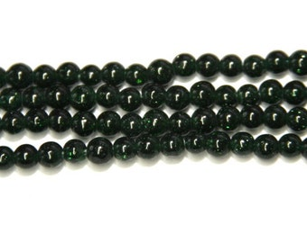 50PCs. Green Sandstone / gemstone beads / 4mm / dark green with glitter   HE061-4