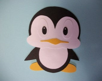Cricut Baby Penguin Christmas Winter Paper Piecing Die Cut Scrapbooking page
