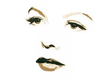 "Original Hand-Cut Paper Portrait - ""Marjorie Reynolds"""
