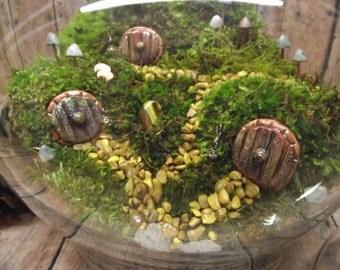 Hobbit Habitat Terrarium-live moss terrarium-miniature hobbit doors- Fairy Garden shire terrarium-Handmade by Gypsy Raku