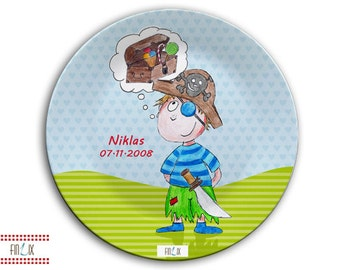 Plate with name, children's meals made in Germany