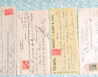 Six Old Used Stamped Checks From the 1800s signed by various companies.