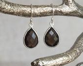 Pear Smoky Quartz Sterling Silver Earrings