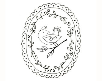 Bird Embroidery Pattern Woodland Animal Digital Downloadable 0055