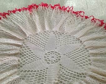 """Vintage 18"""" Ruffled Doily ~ White & Red Frilly Edged Cotton Lace ~ Fuchsia Fluted Bowl Cover ~ Boudoir and Charming Cottage Display Accent"""