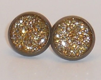 Gold with Silver Flakes Glitter 10mm Post Earrings, Fake Plugs