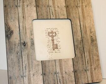 Barnwood frame, Picture frame, Photo frame, Decoupaged frame, Barn wood decor