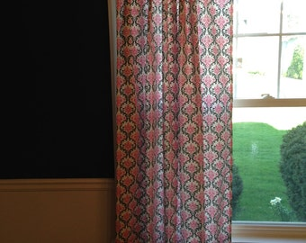 Custom Set of 2 Drapes Curtains Candy Pink & Black
