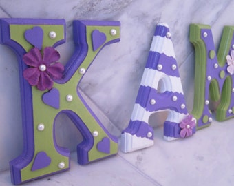 CUSTOM Purple White and Green Wooden Hanging Wall Letters -  Designed by a Professional Artist