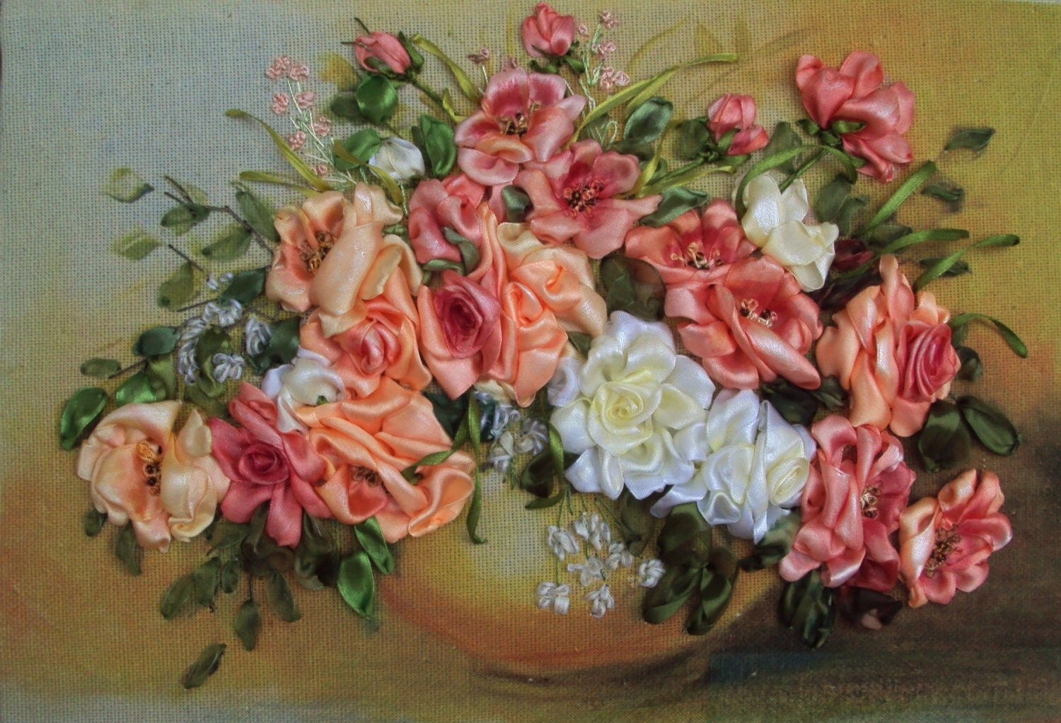 Roses in vase silk ribbon embroidery