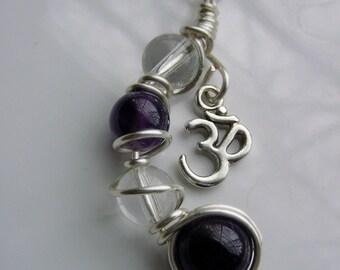 SALE Om Calming Healing Chakra Amethyst, Clear Crystal Quartz Pendant Necklace, Chakra Jewelry, Reiki Jewelry